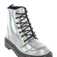 Iridescent Faux Leather Anarchic Combat Boot