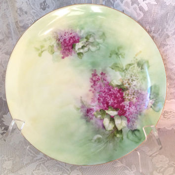 Antique J H R Bavaria Hutschenreuther Favorite Josephine Cabinet Plate Lilacs Floral Buchanan Studios Indianapolis Early 1900s Artist Signed