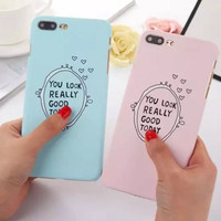 Candy Color Phone Case For iphone 7 Case For iphone 7 7 Plus 6s 6 Plus 5s 5 SE Simple English letter Hard PC Couple Phone Cover -03129