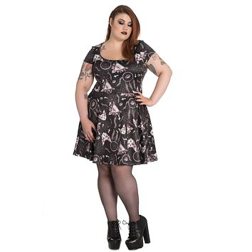 Hell Bunny Gothic Dark Side Sphynx Cat & Witchy Magic Skater Dress