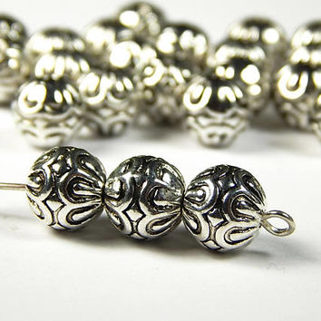 10 Pcs - 9mm Tibetan Silver Round Metal Spacer Beads - Antique Silver - Spacer Beads - Jewelry Supplies