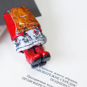 Ukrainian national costumes as a bookmarks. Cossack and his girl Unusual art bookmarks, legs in the book. With love from Ukraine.