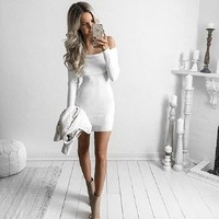 New Winter Long Sleeved Sweater Strapless Dress