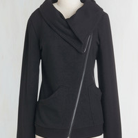 Mid-length Long Sleeve Brunch on the Patio Jacket in Black