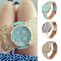 Women's Vintage Leather Strap Geometric Wave Pattern Dial Quartz Casual Wrist Watch Hot Sale = 1932302212