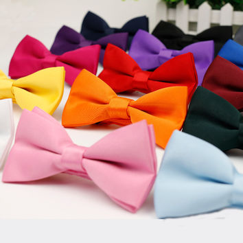 2015 Men's Bow Tie High Quality Flexible Bowtie Smooth Necktie Soft Matte Butterfly Decorative Pattern Solid Color Ties
