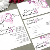 Swirl Leaves | Modern Wedding Invitation Suite by RunkPock Designs | Elegant Fall Autumn Leaf Calligraphy Script Invitation Design | shown in black, deep purple pink and rose pink