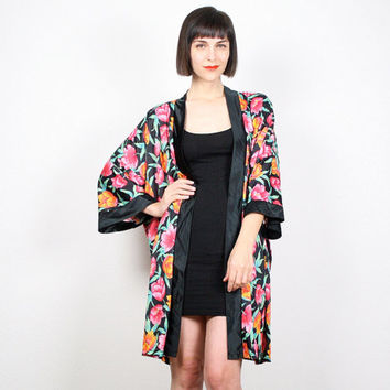 Vintage Black Robe Orange Pink Floral Print Kimono Jacket Draped Duster Jacket Tulip Orchid Boho Spring Jacket M Medium L XL Extra Large