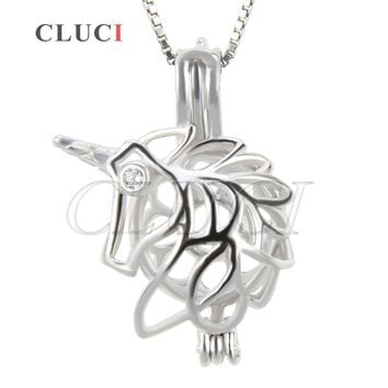 CLUCI fashion women jewelry 925 sterling silver Unicorn cage pendant for making pearls necklace