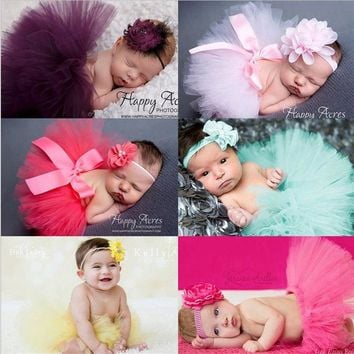 1 Set Newborn baby Yarn skirt  and chiffon flower headband Infant  Hair Accessories