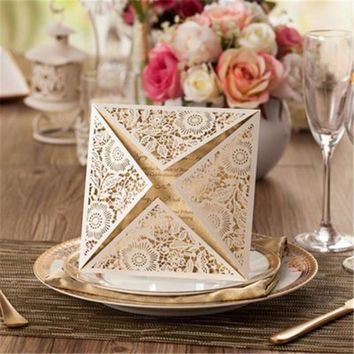 Wedding Invitations Card 15cm*15cm Floral Design Envelope Pure Love Golden White Elegant Flower Square Wedding Party Supplies