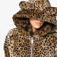 Re/Done Faux Leopard Jacket With Hood Ears - Farfetch