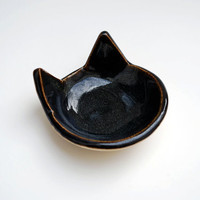 Black Cat Shaped Bowl, Handmade, Ceramic, Pottery - Ring Dish, Tea Bag Rest, Spoon Rest, Jewelry Dish, Pretty Bowl
