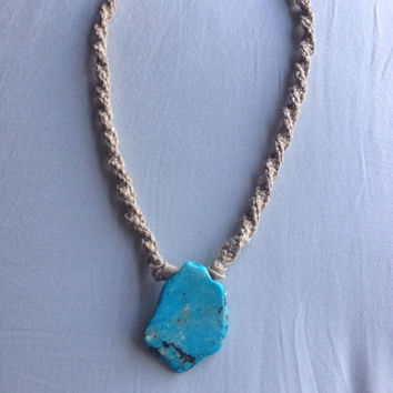 Blue howlite nugget hemp necklace, hemp jewelry, boho jewelry