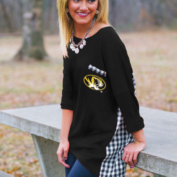 GAMEDAY Gingham Piko Top - MISSOURI