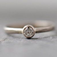 Diamond Engagement Ring, Solitaire, Simple Recycled 14k Palladium White Gold Ring