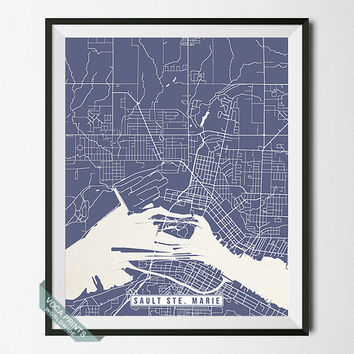 Sault Ste Marie Print, Michigan Poster, Sault Ste Marie Poster, Sault Ste Marie Map, Michigan Print, Street Map, Wall Art