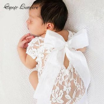 Espoir Lumier Baby Clothes Lace Baby Girl Romper Summer Photography Props Toddler Bowknot Jumpers Newborn Clothes Baby Infant
