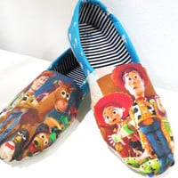 Toy Story Shoes (Pixar, Toms, Woody, Buzz Lightyear, Jessie, Barbie) Men, Women, Kids, Youth