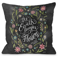 """Earth Laughs Flowers"" Emerson Quote Indoor Throw Pillow by Lily & Val, 16""x16"""
