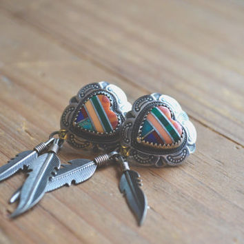 vintage inlay and concho heart stud earrings with feather drops // zuni native american // amazing multi-stone inlay