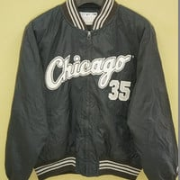 30% christmas sale Chicago White Sox Frank Thomas Vintage 90s Satin Jacket MLB Baseball / Chalkline jacket /  Starter