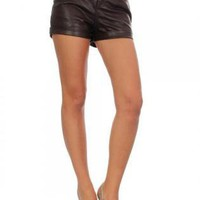Dark Brown Faux Leather Shorts with Two Front Pockets