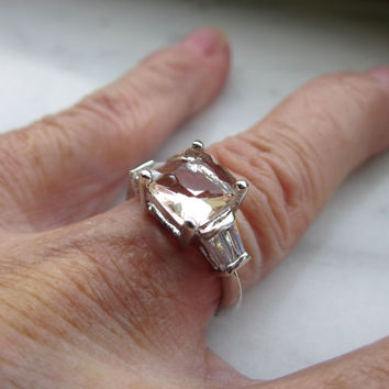 Sterling silver morganite ring and cystal gemstone ring size 5.5 925 morganite silver ring clearance morganite jewelry 925 gemstone ring
