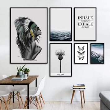 Fashion Landscape Indian Posters Canvas Art Print Painting Wall Pictures For Living Room Nordic Beautiful Girl Butterfly Ocean P