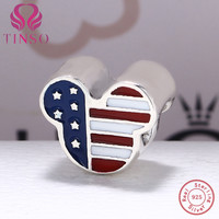 High Quality 925 Sterling Silver American Flag Mickey Mouse Charms Beads Fit Original Pandora Bracelet Authentic Jewelry