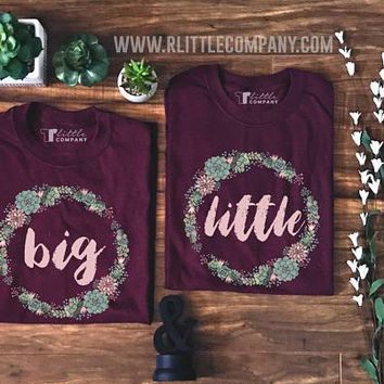 Big Little Sorority Family Succulent Wreath - Unisex Tees S-2X // Big Little Reveal // Big Little Gift // Sorority Shirt