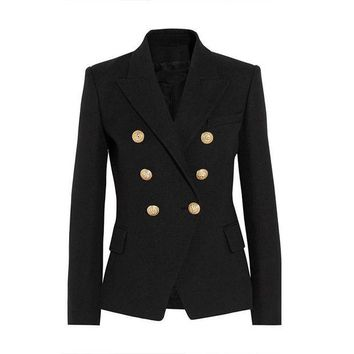 DCCKHY9 HIGH QUALITY New Fashion 2016 Runway Style Women's Gold Buttons Double Breasted Blazer Outerwear Plus size XS-XXL