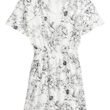 Jersey dress with smocking - White/Floral - Ladies | H&M GB