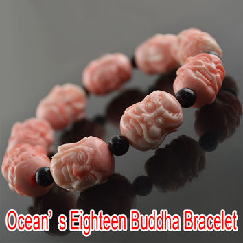 Vintage Tibetan Mala Prayer Beads ~Bracelets Men & Women ~Wooden ~ Buddhist Six Mantra Sculpture Wood Meditation Bracelets~ Pink Tridacna
