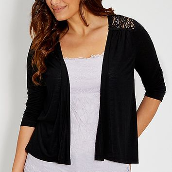 plus size cardigan with lace back in black | maurices