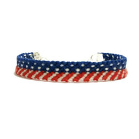 American Flag Pattern Friendship Bracelet with Silver Chain