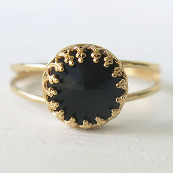 black jet ring, gold ring, crystal ring, Swarovski ring, stacking ring, vintage ring, gold filled ring, bridesmaid gift