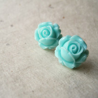 Mint Rosebud Earrings. Flower Studs, Rose Earrings. Post Earrings, Aqua Earrings. Art Deco. Vintage Inspired. Summer Fashion. FSE1.