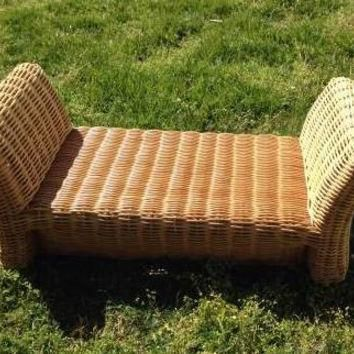 Vintage Ottoman by Brown Jordan Rattan