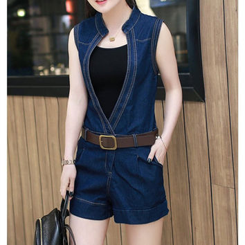 Fashion Deep V Bodycon Denim Overalls Jumpsuit
