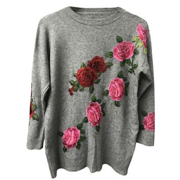 Autumn Winter Sweater Women Floral Embroidery Pullovers Casual Loose Knitted Top Sweaters Female 2017 Fashion Knitwear