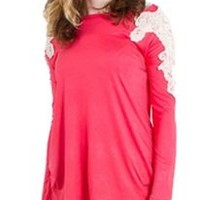 Pomelo Mommy and Me Crochet Shoulder Knit Top in Coral for Women PTK2073-C