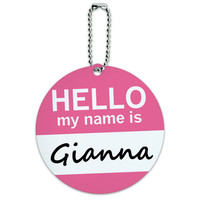 Gianna Hello My Name Is Round ID Card Luggage Tag