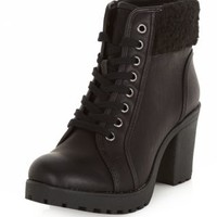 Black Faux Shearling Cuff Lace Up Block Heel Boots