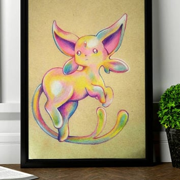 Espeon, pokemon, art print,wall decoration,gift
