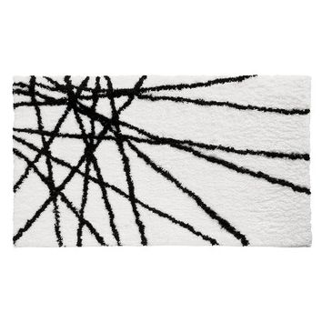 "InterDesign Abstract Bath Rug - Black/White (21x34"")"