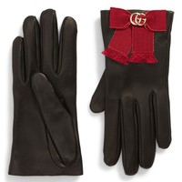 Gucci GG Grosgrain Bow Leather Gloves | Nordstrom