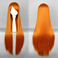 EVA Asuka Classical 80cm Long Straight Orange Red Synthetic Wig,Colorful Candy Colored synthetic Hair Extension Hair piece 1pcs WIG-001F
