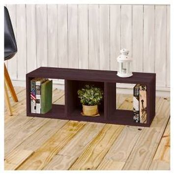 Way Basics Eco 3 Cubby Storage Bench - Stackable Cube Organizer - Espresso Wood Grain