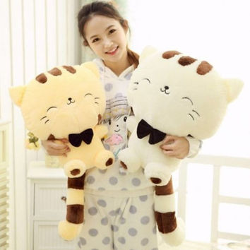 Fashion 45CM Include Tail Cute Plush Stuffed Toys Cushion Fortune Cat Doll Gift Beige [7655779462]